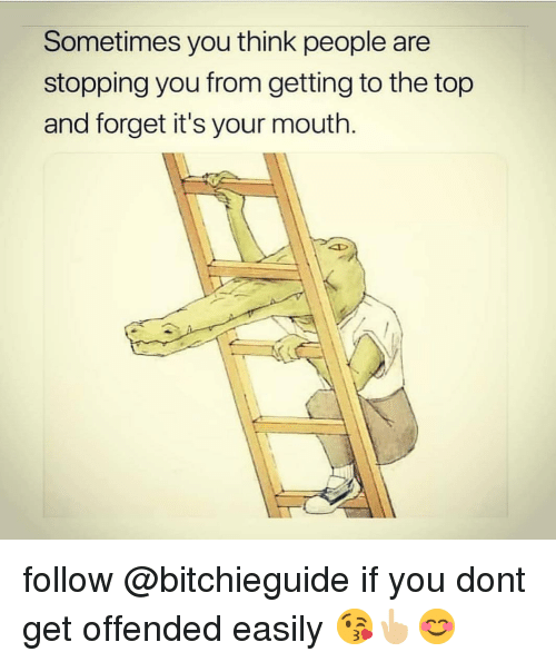 Memes, 🤖, and Top: Sometimes you think people are  stopping you from getting to the top  and forget it's your mouth. follow @bitchieguide if you dont get offended easily 😘👆🏼😊