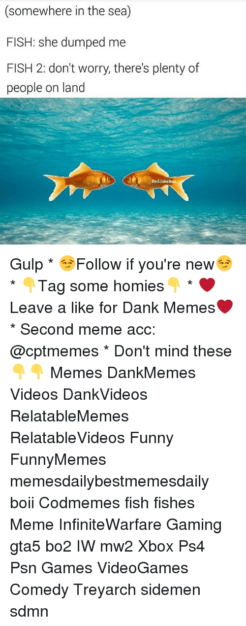Bad Jokes, Memes, and Ps4: (somewhere in the sea)  FISH: she dumped me  FISH 2: don't worry, there's plenty of  people on land  Bad Joke Ben Gulp * 😏Follow if you're new😏 * 👇Tag some homies👇 * ❤Leave a like for Dank Memes❤ * Second meme acc: @cptmemes * Don't mind these 👇👇 Memes DankMemes Videos DankVideos RelatableMemes RelatableVideos Funny FunnyMemes memesdailybestmemesdaily boii Codmemes fish fishes Meme InfiniteWarfare Gaming gta5 bo2 IW mw2 Xbox Ps4 Psn Games VideoGames Comedy Treyarch sidemen sdmn