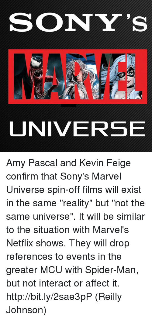 "Memes, Netflix, and Spider: SONY'S  UNIVERSE Amy Pascal and Kevin Feige confirm that Sony's Marvel Universe spin-off films will exist in the same ""reality"" but ""not the same universe"". It will be similar to the situation with Marvel's Netflix shows. They will drop references to events in the greater MCU with Spider-Man, but not interact or affect it. http://bit.ly/2sae3pP  (Reilly Johnson)"