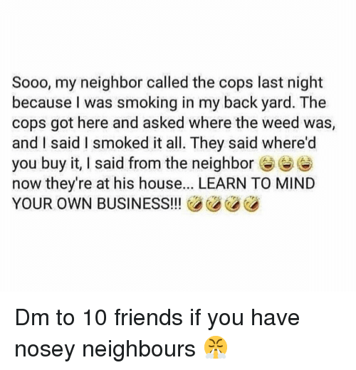 Friends, Memes, and Smoking: Sooo, my neighbor called the cops last night  because I was smoking in my back yard. The  cops got here and asked where the weed was,  and I said I smoked it all. They said where'd  you buy it, I said from the neighbore  now they're at his house... LEARN TO MIND  YOUR OWN BUSINESS!!! Dm to 10 friends if you have nosey neighbours 😤