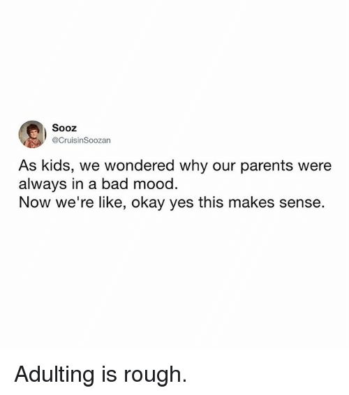 Bad, Memes, and Mood: Sooz  @CruisinSoozan  As kids, we wondered why our parents were  always in a bad mood.  Now we're like, okay yes this makes sense. Adulting is rough.