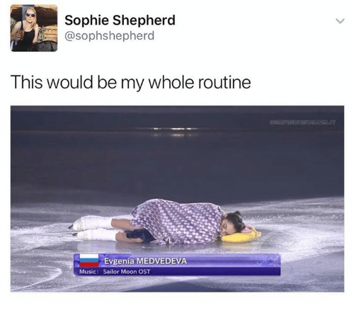 Music, Sailor Moon, and Moon: Sophie Shepherd  @sophshepherd  This would be my whole routine  Evgenia MEDVEDEVA  Music: Sailor Moon OST