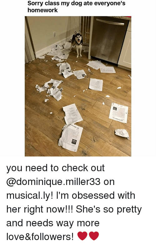 Memes, 🤖, and Obsessed: Sorry class my dog ate everyone's  homework you need to check out @dominique.miller33 on musical.ly! I'm obsessed with her right now!!! She's so pretty and needs way more love&followers! ❤❤