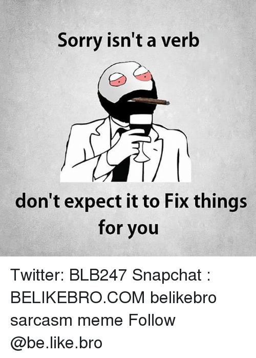 Be Like, Meme, and Memes: Sorry isn't a verb  don't expect it to Fix things  for you Twitter: BLB247 Snapchat : BELIKEBRO.COM belikebro sarcasm meme Follow @be.like.bro