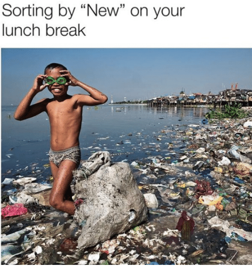 """Break, New, and  Lunch: Sorting by """"New"""" on your  lunch break"""