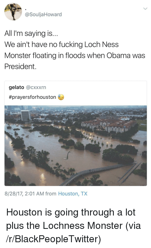 Blackpeopletwitter, Fucking, and Loch Ness Monster: @SouljaHoward  All I'm saying is  We ain't have no fucking Loch Ness  Monster floating in floods when Obama was  President  gelato @cxxxrn  #prayersforhouston  8/28/17, 2:01 AM from Houston, TX <p>Houston is going through a lot plus the Lochness Monster (via /r/BlackPeopleTwitter)</p>