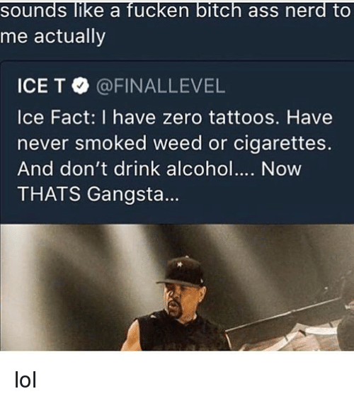 Ass, Bitch, and Gangsta: sounds like a fucken bitch ass nerd to  me actually  ICE T·@FINALLEVEL  Ice Fact: I have zero tattoos. Have  never smoked weed or cigarettes.  And don't drink alcoho. Now  THATS Gangsta... lol