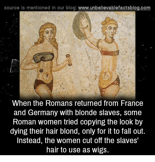 Memes, 🤖, and Fall Out: source is mentioned in our blog  www.unbelievablefactsblog.com  When the Romans returned from France  and Germany with blonde slaves, Some  Roman women tried copying the look by  dying their hair blond, only for it to fall out.  Instead, the women cut off the slaves  hair to use as wigs