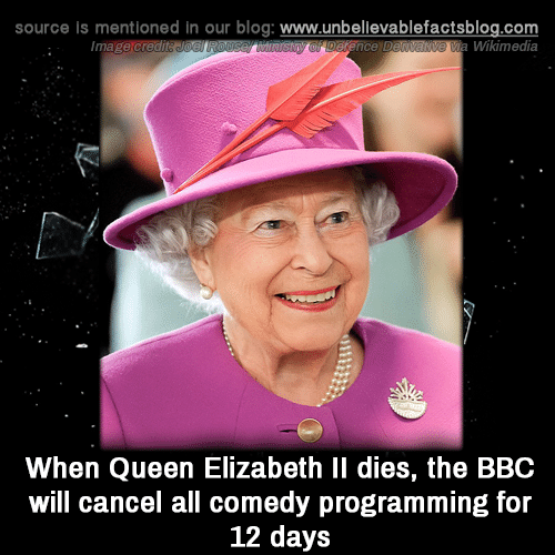 Memes, Queen Elizabeth, and Queen: source is mentioned in our blog: www.unbellevablefactsblog.com  Wikimedia  When Queen Elizabeth Il dies, the BBC  will cancel all comedy programming for  12 days