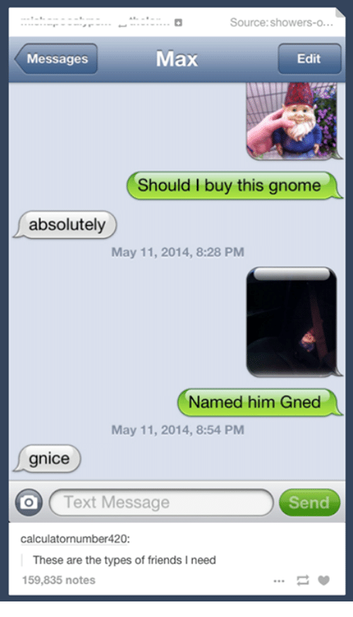 Friends, Text, and Humans of Tumblr: Source:showers-O...  Messages  Max  Edit  Should I buy this gnome  absolutely  May 11, 2014, 8:28 PM  Named him Gned  May 11, 2014, 8:54 PM  gnice  O (Text Message  Send  calculatornumber420:  These are the types of friends I need  159,835 notes