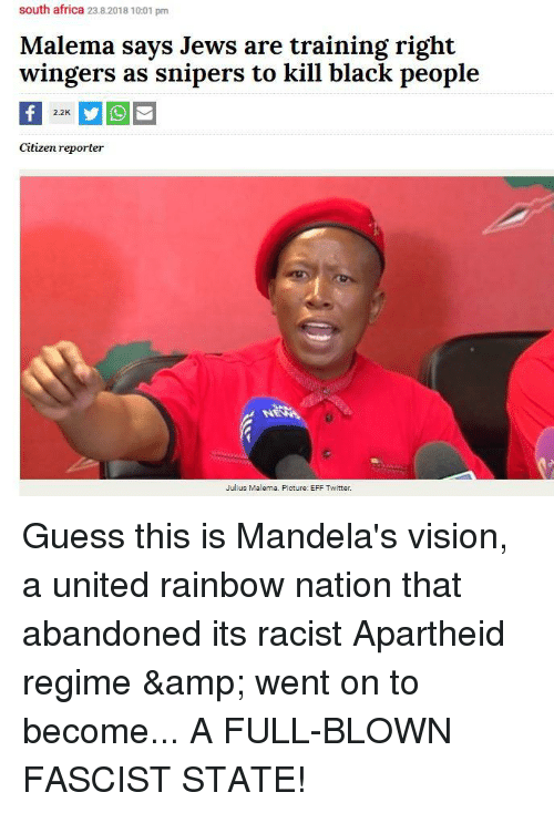 South Africa 2382018 1001 Pm Malema Says Jews Are Training Right
