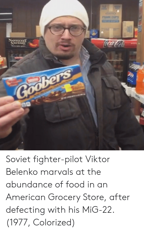 Food, American, and Soviet: Soviet fighter-pilot Viktor Belenko marvals at the abundance of food in an American Grocery Store, after defecting with his MiG-22. (1977, Colorized)