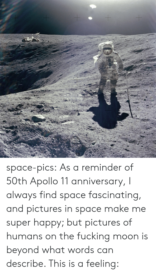 Tumblr, Apollo, and Blog: space-pics:  As a reminder of 50th Apollo 11 anniversary, I always find space fascinating, and pictures in space make me super happy; but pictures of humans on the fucking moon is beyond what words can describe. This is a feeling: