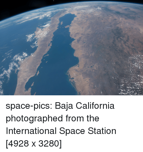 Tumblr, Blog, and California: space-pics:  Baja California photographed from the International Space Station [4928 x 3280]