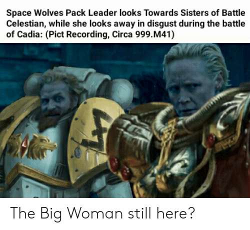 Space, Wolves, and Sisters: Space Wolves Pack Leader looks Towards Sisters of Battle  Celestian, while she looks away in disgust during the battle  of Cadia: (Pict Recording, Circa 999. M41)  T The Big Woman still here?