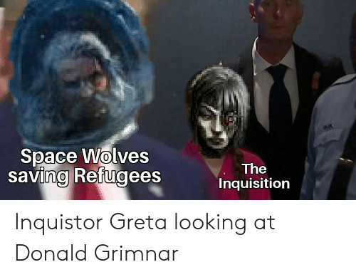 Space, Wolves, and Looking: Space Wolves  saving Refugees  The  Inquisition Inquistor Greta looking at Donald Grimnar