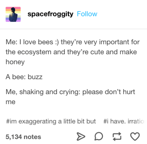 Crying, Cute, and Bees: spacefroggity Follow  Me: I ove bees: they're very important for  the ecosystem and they're cute and make  honey  A bee: buzz  Me, shaking and crying: please don't hurt  me  #im exaggerating a little bit but  #1 have. irrati  5,134 notes