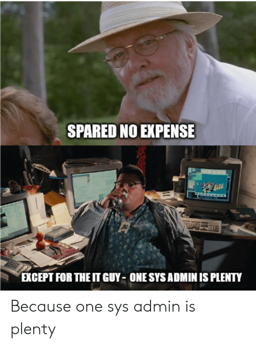 One, For, and Spared No Expense: SPARED NO EXPENSE  EXCEPT FOR THE IT GUY ONE SYS ADMIN IS PLENTY Because one sys admin is plenty