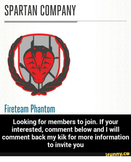 SPARTAN COMPANY Fireteam Phantom Looking for Members to Join
