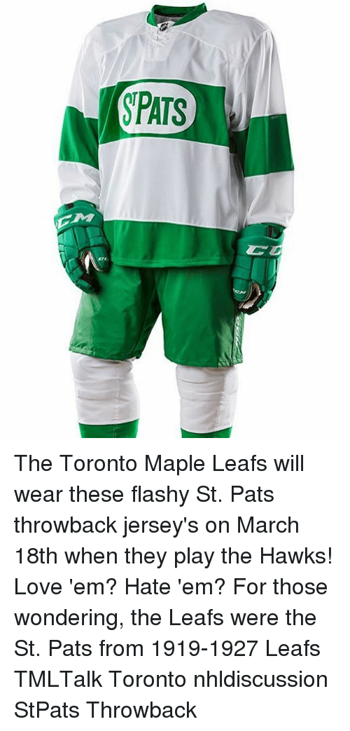 SPATS the Toronto Maple Leafs Will Wear These Flashy St Pats ... 21512aaf3