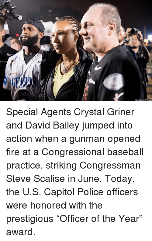 """Baseball, Fire, and Memes: Special Agents Crystal Griner and David Bailey jumped into action when a gunman opened fire at a Congressional baseball practice, striking Congressman Steve Scalise in June. Today, the U.S. Capitol Police officers were honored with the prestigious """"Officer of the Year"""" award."""