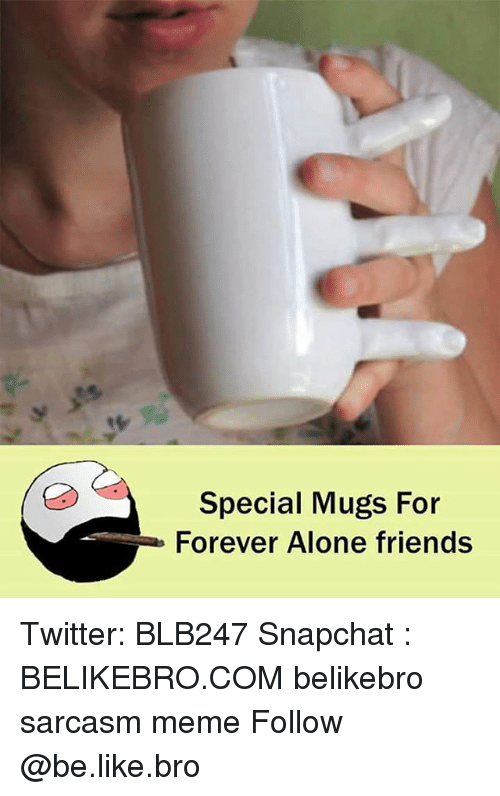 Being Alone, Be Like, and Friends: Special Mugs For  Forever Alone friends Twitter: BLB247 Snapchat : BELIKEBRO.COM belikebro sarcasm meme Follow @be.like.bro