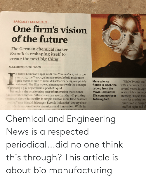 SPECIALTY CHEMICALS One Firm's Vision of the Future Eo the German