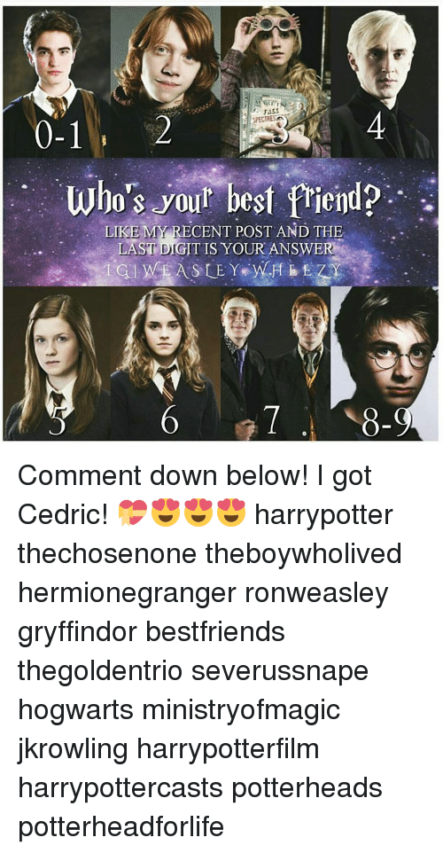 Best Friend, Gryffindor, and Memes: SPECTR  0-1  who's your best friend?  LIKE MY RECENT POST AND THE  LAST DIGIT IS YOUR ANSWER Comment down below! I got Cedric! 💝😍😍😍 harrypotter thechosenone theboywholived hermionegranger ronweasley gryffindor bestfriends thegoldentrio severussnape hogwarts ministryofmagic jkrowling harrypotterfilm harrypottercasts potterheads potterheadforlife