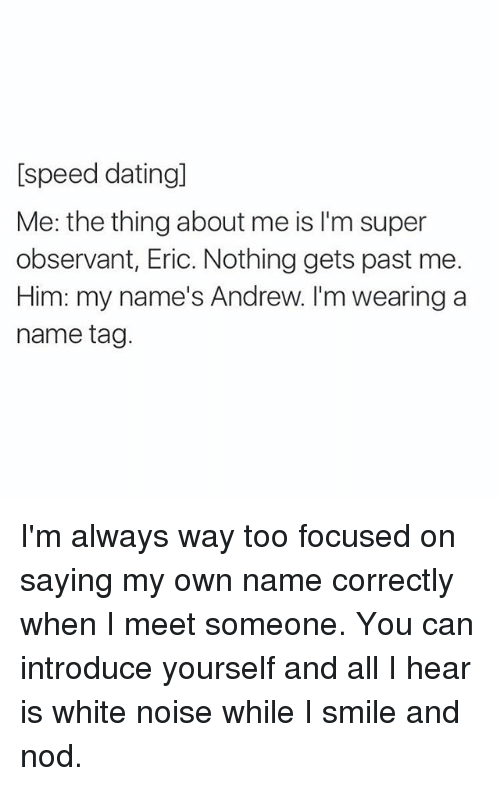 speed dating by yourself
