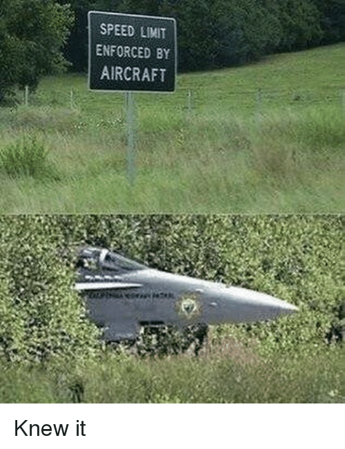 Memes, 🤖, and Speed: SPEED LIMIT  ENFORCED BY  AIRCRAFT Knew it