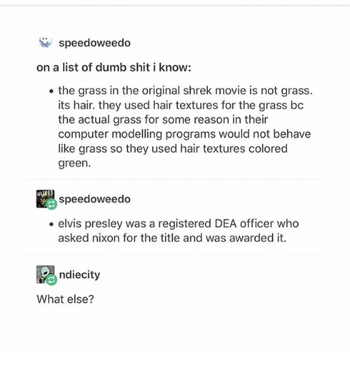 Dumb, Ironic, and Shit: speedoweedo  on a list of dumb shit i know:  the grass in the original shrek movie is not grass.  its hair. they used hair textures for the grass bc  the actual grass for some reason in their  computer modelling programs would not behave  like grass so they used hair textures colored  green.  speedoweedo  . elvis presley was a registered DEA officer who  asked nixon for the title and was awarded it.  Rgndiecity  What else?
