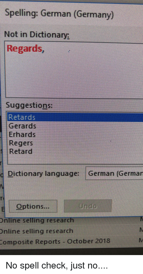Spelling German Germany Not in Dictionary Suggestions
