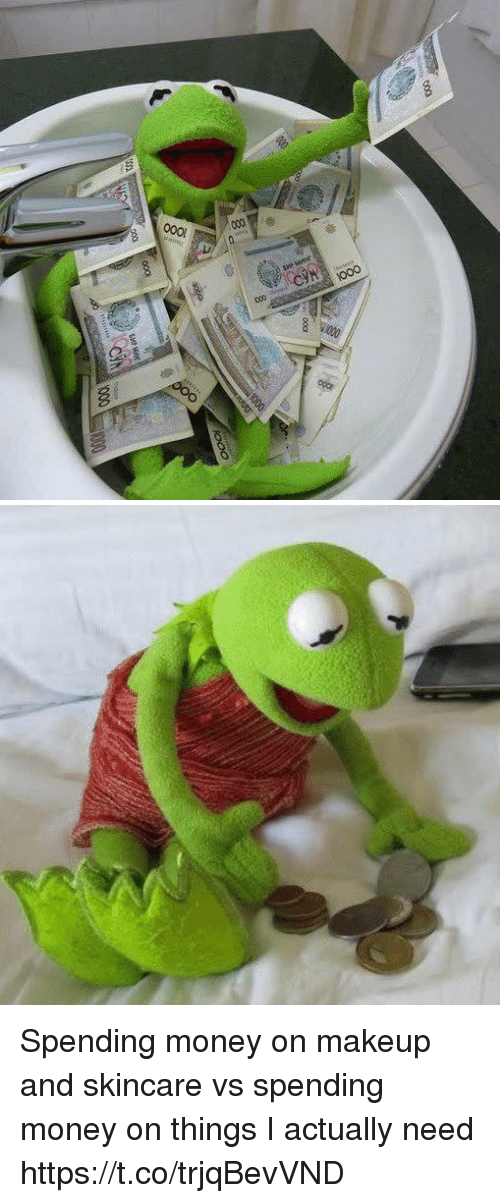 Makeup, Money, and Girl Memes: Spending money on makeup and skincare vs spending money on things I actually need https://t.co/trjqBevVND