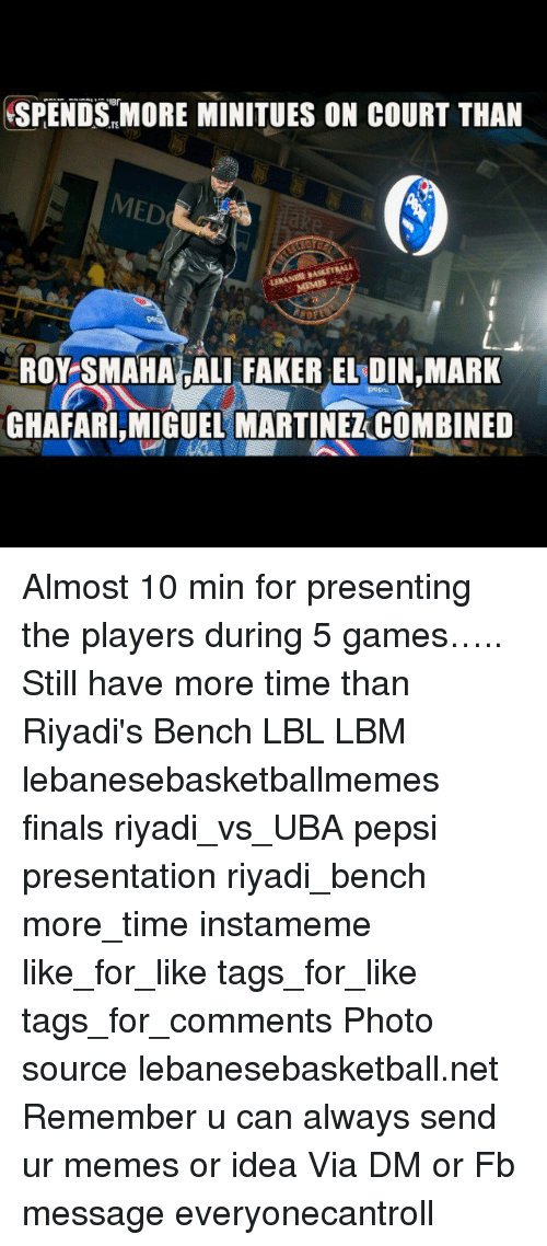 ali finals and memes spends more minitues on court than med roy smaha