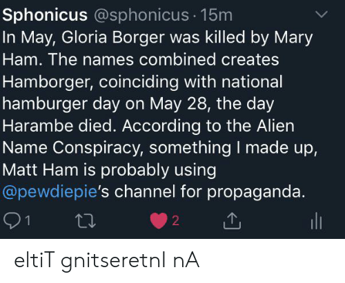 Sphonicus 15m in May Gloria Borger Was Killed by Mary Ham the Names