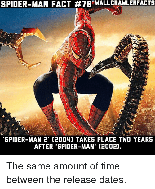Memes, Spider, and SpiderMan: SPIDER-MAN FACT #76-WALLCRAWLERFACTS  SPIDER-MAN 2' (2004) TAKES PLACE TWO YEARS  AFTER 'SPIDER-MAN' (2002), The same amount of time between the release dates.