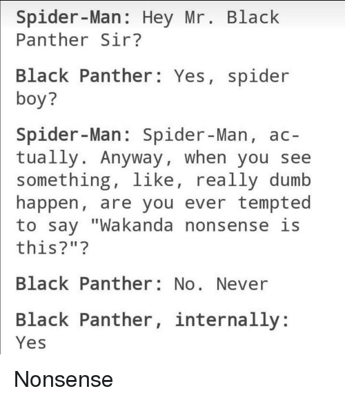 "Dumb, Spider, and SpiderMan: Spider-Man: Hey Mr. Black  Panther Sir?  Black Panther: Yes, spider  boy?  Spider-Man: Spider-Man, ac-  tually. Anyway, when you see  something, like, really dumb  happen, are you ever tempted  to say ""Wakanda nonsense is  this?"" ?  Black Panther: No. Never  Black Panther, internally:  Yes <p>Nonsense</p>"