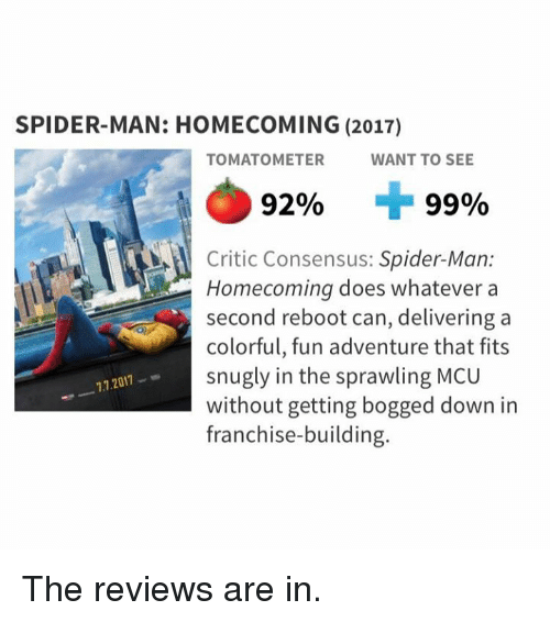 Memes, Spider, and SpiderMan: SPIDER-MAN: HOMECOMING (2017)  TOMATOMETER  WANT TO SEE  92%  99%  Critic Consensus: Spider-Man:  Homecoming does whatever a  second reboot can, delivering a  colorful, fun adventure that fits  snugly in the sprawling MCU  without getting bogged down in  franchise-building  -7.7.2017- The reviews are in.
