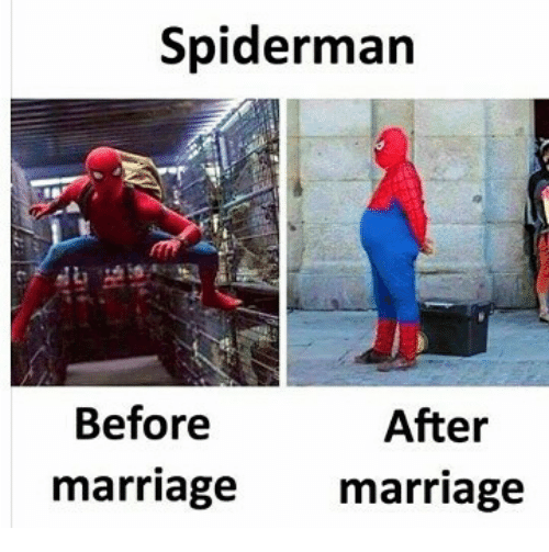 Marriage, Spiderman, and Indonesian (Language): Spiderman  Before  marriage marriage  After