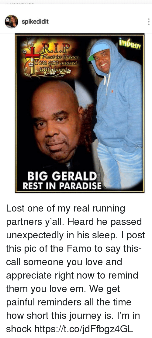 Journey, Love, and Memes: spikedidit  R.LP  o are  missed  BIG GERALD  REST IN PARADISE Lost one of my real running partners y'all. Heard he passed unexpectedly in his sleep. I post this pic of the Famo to say this- call someone you love and appreciate right now to remind them you love em. We get painful reminders all the time how short this journey is. I'm in shock https://t.co/jdFfbgz4GL