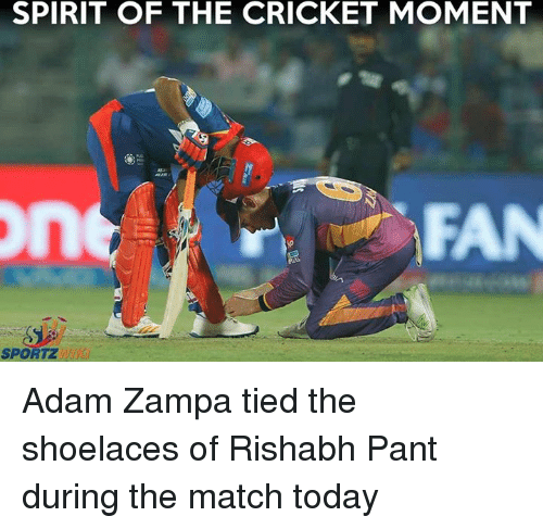 Memes, Cricket, and Match: SPIRIT OF THE CRICKET MOMENT  FAN  SPORTZ Adam Zampa tied the shoelaces of Rishabh Pant during the match today