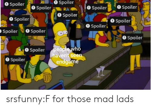 Tumblr, Blog, and Mad: Spoiler  O Spoiler  Spoiler  O Spoiler  Spoiler  Spoileri  SpoilerSpoiler  9 Spoiler  Spoilerpeople who  haven't seen  O Spoiler  endgame srsfunny:F for those mad lads