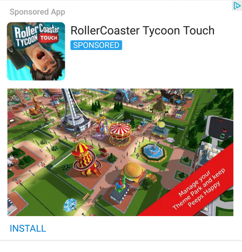 Sponsored App Roller Coaster RollerCoaster Tycoon Touch
