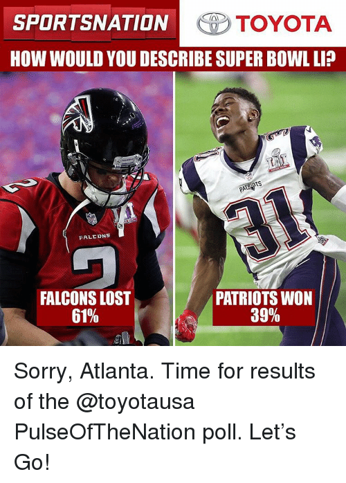 Memes, Toyota, and 🤖: SPORTSNATION  TOYOTA  HOW WOULD YOU DESCRIBE SUPER BOWL LI?  TS  FALC DNS  PATRIOTS WON  FALCONS LOST  39%  61% Sorry, Atlanta. Time for results of the @toyotausa PulseOfTheNation poll. Let's Go!