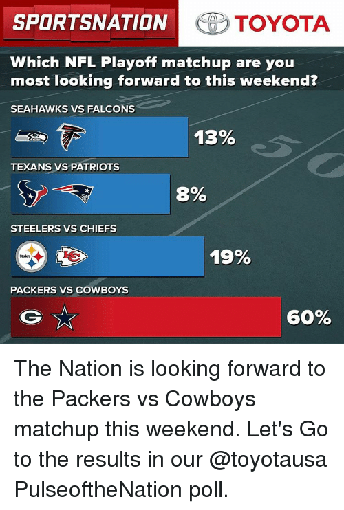 Memes, NFL Playoffs, and Toyota: SPORTSNATION TOYOTA  Which NFL Playoff matchup are you  most looking forward to this weekend?  SEAHAWKS VS FALCONS  13%  TEXANS VS PATRIOTS  8%  STEELERS VS CHIEFS  19%  PACKERS VS COWBOYS  60% The Nation is looking forward to the Packers vs Cowboys matchup this weekend. Let's Go to the results in our @toyotausa PulseoftheNation poll.