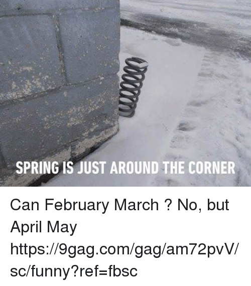 9gag, Dank, and Funny: SPRING IS JUST AROUND THE CORNER Can February March ? No, but April May https://9gag.com/gag/am72pvV/sc/funny?ref=fbsc
