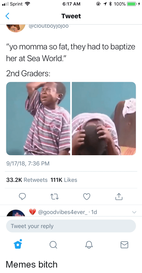 """Anaconda, Bitch, and Memes: Sprint  6:17 AM  e 1 * 100%, --+  Tweet  """"yo momma so fat, they had to baptize  her at Sea World.""""  2nd Graders:  9/17/18, 7:36 PM  33.2K Retweets 111K Likes  @goodvibes4ever 1d  Tweet your reply Memes bitch"""