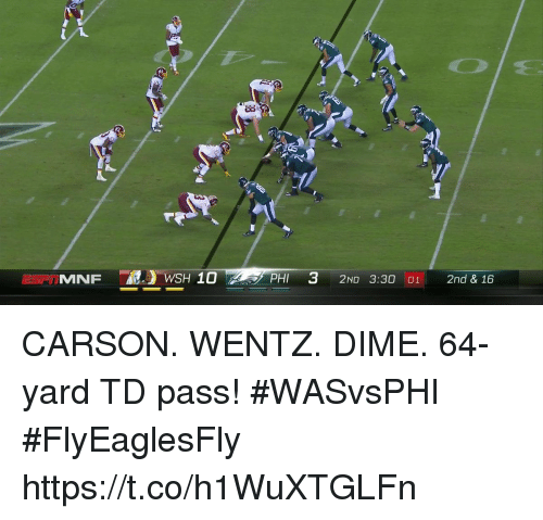 Memes, 🤖, and Phi: SPTMNF  PHI 3 2ND 3:30  2nd & 16 CARSON. WENTZ. DIME.  64-yard TD pass! #WASvsPHI #FlyEaglesFly https://t.co/h1WuXTGLFn