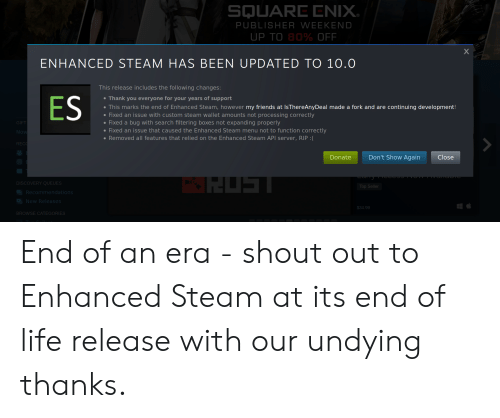 SQUARE ENIX PUBLISHER WEEKEND UP TO 80% OFF ENHANCED STEAM HAS BEEN