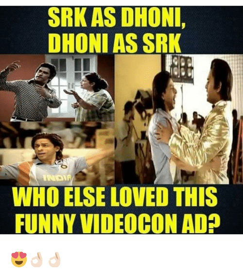 Dekh Bhai, International, and Srk: SRK AS DHONI,  DHONI AS SRK  WHO ELSE LOVED THIS  FUNNY VIDEOCON AD 😍👌🏻👌🏻